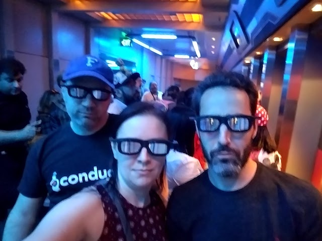 Chris Manning, Kelly Dassing, and Sam Seide at Star Tours