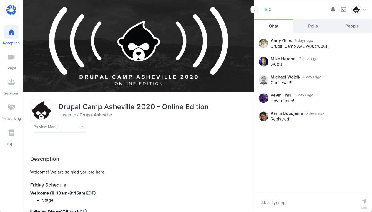 Drupal Camp Asheville 2020 - Online Edition Hopin screenshot