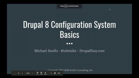Embedded thumbnail for Drupal 8 Configuration System Basics